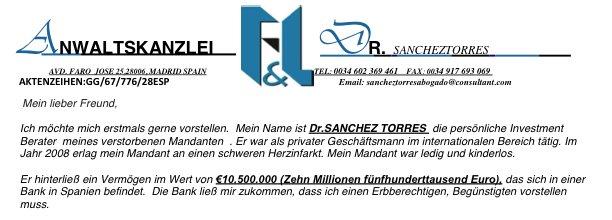 Endlich reich: Post von Dr. SANCHEZ TORRES